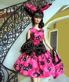 """my favorites are Birds & Fish, they are beautiful & free. but the in my """" Barbie Loves Animals"""" collection is Cat: Black Cats: Cats in Hats and here com… Barbie Cat, Barbie Dress, Pink Barbie, Barbie Halloween, Halloween Art, Snow White Doll, Barbie Wardrobe, Gold Cocktail Dress, Vintage Barbie Clothes"""