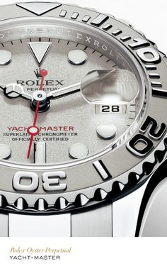 Rolex Yacht-Master 35 mm in whilte gold and platinum with a rotatable graduated bezel, white dial and Oyster bracelet. #Yachting #RolexOfficial