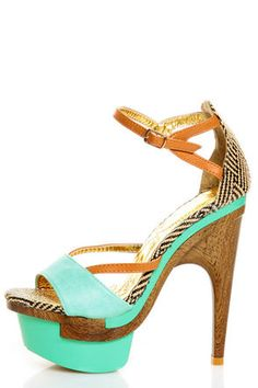 Mona Mia Mayo Mint Tribal Patterned Sculpted Platform Heels $58