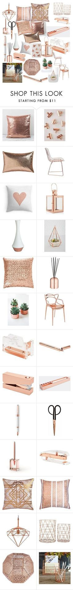 Copper finishes by caitlin1d23-07-10 ❤ liked on Polyvore featuring interior, interiors, interior design, home, home decor, interior decorating, Urban Outfitters, CB2, Zuo and Pillow Decor