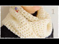 シンプル・スヌードの編み方・作り方(1)【100均糸5玉で簡単♪かぎ編みです♪】 diy simple cowl crochet tutorial - YouTube