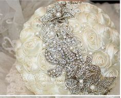 Hand Made Ivory Satin Rose Luxury Crystal Brooches Bridal Wedding Bouquet Decor