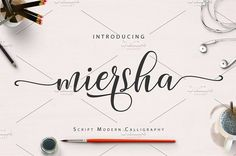 Miersha Script by cooldesignlab on Cool Fonts, Pretty Fonts, Beautiful Fonts, Creative Sketches, Creative Fonts, Creative Design, Business Brochure, Business Card Logo, Script Type