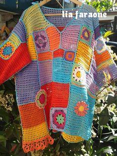 Manuzzi Nichi Nichi: tunic gipsy Crochet Jumper, Cotton Crochet, Crochet Cardigan, Crochet Baby, Knit Crochet, Freeform Crochet, Crochet Stitches, Crochet Patterns, Scrappy Quilts