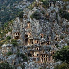 Dalyan, Turkey-On the Çayı River.   Above the river's sheer cliffs are the weathered façades of Lycian tombs cut from rock, circa 400 BC. The ruins of the ancient trading city of Kaunos are a short boat trip across the river.