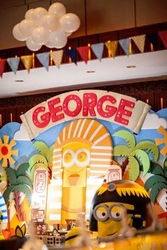 Backdrop + Signage from a Minions in Egypt Themed Birthday Party via Kara's Party Ideas   The Place for All Things Party! KarasPartyIdeas.com (19)