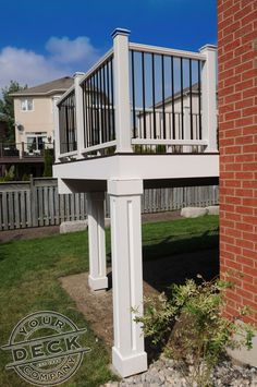 Custom pillars created by Your Deck Company. Using a low maintenance PVC trim, we are able to create a variety of options to dress up the support posts for your deck. #pvctrim #deckbuilder #yourdeck visit us at www.yourdeck.ca