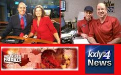 Both Radio and TV morning crews, are dressed in red on Fridays!