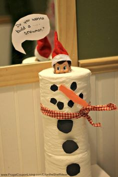 Dozens of Great The Elf on the Shelf Ideas found on Frugal Coupon Living. Elf is a snowman with this Toilet Paper Stack. Do you wanna Build a Snowman? All Things Christmas, Christmas Holidays, Christmas Decorations, Christmas Ideas, Holiday Crafts, Holiday Fun, Holiday Decor, Charlie Brown Weihnachten, L Elf