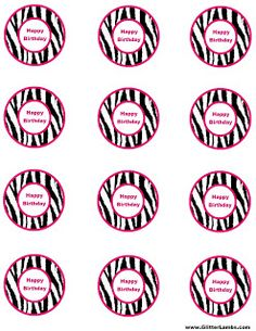 Glitter Lambs: Pink Zebra Food Label Cards And Free Printable Cupcake Topper Templates For A DIY Pink Zebra Birthday Party