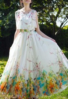 Floral Cape top Chiffon Dress- by EMS