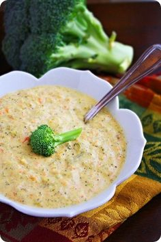 Creamy Broccoli Cheddar Soup    Ingredients  1 tablespoon melted butter  1/2 medium chopped onion  1/4 cup melted butter  1/4 cup flour  2 1/2 cups half-and-half  4 cups chicken stock  1 lb. (16 oz.) fresh or frozen broccoli florets  1 cup grated carrot  Kosher salt and freshly grated pepper, to taste  1/4 teaspoon grated nutmeg  8 ounces grated sh