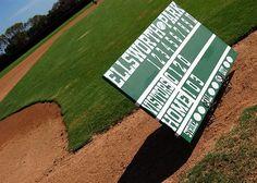 Homemade scoreboard for his baseball themed room