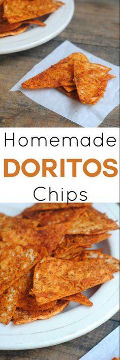 Homemade Nachos, Homemade Chips, Homemade Doritos Recipe, Snacks Homemade, Homemade Tortilla Chips, Homemade Breads, Appetizer Recipes, Snack Recipes, Cooking Recipes