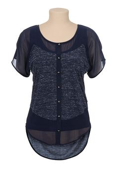 High-Low Pieced Chiffon Dolman Top available at #Maurices