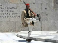 Photographs and interesting facts about the soldiers that guide the Tomb devoted to the Unknown Soldier, located at Syntagma square, outside the greek Parliament. Greek Traditional Dress, Unknown Soldier, Athens, Fun Facts, Greece, Winter Jackets, Lamb, Bucket, Cook