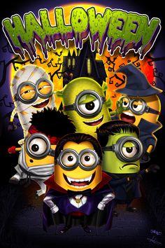 Minions  on halloween by victter-le-fou.deviantart.com on @DeviantArt