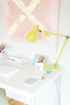 Bright desk accessories: http://www.stylemepretty.com/living/2015/08/18/22-tricks-to-make-your-office-somewhere-you-enjoy-spending-time-in/