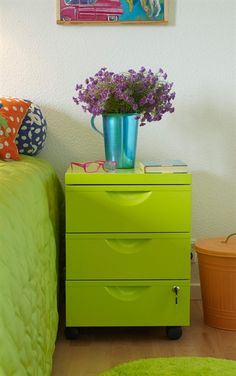 A Brightly Coloured Bedside Table Can Complement A Roomu0027s Decor