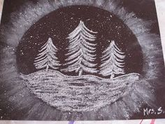 """""""Snowy Trees"""" Art Project (Re-post from a couple years ago) Materials needed: black paper ( mine is 9x12""""), oval template, white chalk, t..."""