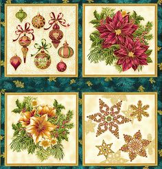 "Holiday Flourish - Pure Elegance - Teal/Gold - 24"" x 44"" PANEL"