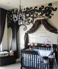 Little Prince, Browns, blues, Tans, and Blacks make up a nursery fit for a prince.