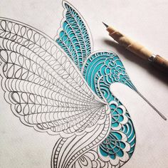 Cut Paper Hummingbird - Detail by all things paper, via Flickr