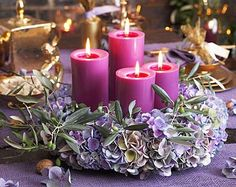 Purple Advent Wreath and Pink Candles. So pretty. Christmas Advent Wreath, Winter Christmas, Christmas Holidays, Christmas Crafts, Christmas Decorations, Xmas, Advent Wreaths, Purple Christmas, Advent Candles