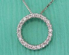 Certified ct White Diamond Eternity Pendant in Solid White Gold Diamond Necklace Set, Circle Pendant Necklace, Diamond Jewelry, White Gold Diamonds, Natural Diamonds, White Topaz, Round Cut Diamond, Sterling Silver Pendants, Prong Set
