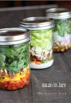 Great lunch ideas! Make at beginning of week for each day!  The Italian Dish - Posts - Salad in Jars