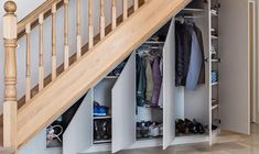 50 Amazing Under Stair Storage Solutions To Spruce Up Your Home - Engineering Discoveries Cabinet Under Stairs, Closet Under Stairs, Space Under Stairs, Living Room Under Stairs, Stairway Storage, Hallway Storage, Cupboard Storage, Wall Storage, Hidden Storage