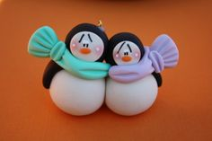 Personalized Penguin Couple Clay Christmas by ClayCutiesbySabrina, $9.50