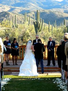 Mountains and saguaros make an incredible backdrop for a wedding at Tanque Verde Guest Ranch - Tucson, Arizona