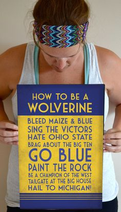 Michigan Art Print, Wolverine Quote Poster Sign, Michigan Football Decor 11 x 17