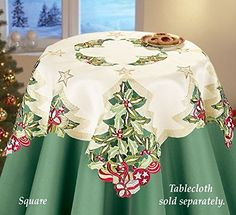 Tree Embroidered Holly Table Square Winston Inc. Easter Table, Easter Eggs, Mantel Redondo, Collections Etc, Placemat Sets, Sewing Table, Elegant Table, Square Tables, Table Toppers