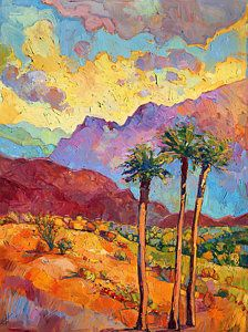 Indian Wells by Erin Hanson. Bright springtime colors pop from the canvas in this painting of Indian Wells, near Palm Springs. Landscape Art, Landscape Paintings, Desert Landscape, Landscapes, Oil Paintings, Cheap Paintings, Indian Wells, Erin Hanson, Desert Art