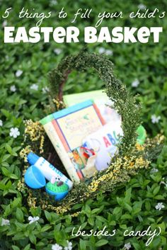 5 things to fill your child's Easter basket (besides candy) - ideas from I Can Teach My Child Hoppy Easter, Easter Bunny, Easter Eggs, Easter Books, Easter Table, Easter Projects, Easter Crafts For Kids, Easter Ideas, Bunny Crafts