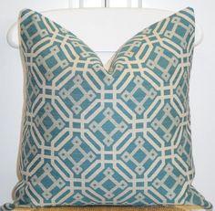 "Blue Geometric Pillow Cover 20"" x 20"" $42"