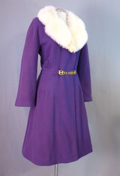 Vintage 40s Coat Purple Wool White Fox Fur Large bust 42 at Couture Allure Vintage Clothing