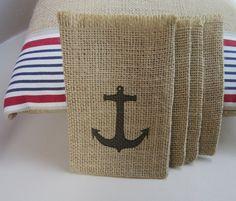 diy burlap purses | Anchor Burlap Gift Bags....turn into DIY ... | Nautical Decor & DG ...