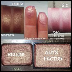 TOO FACED 'BELLINI' ($49, SWEET PEACH PALETTE) vs BUXOM 'GLITZ FACTOR' ($12) I finally came across a dupe for BELLINI! A whole bunch of people asked for this one but I was having a bitch of time with it. BELLINI is a peachy pink with lots of gold shimmer but it's also quite muted. All the usual suspects (Mac paradisco, expensive pink, UD freelove, CP shark attack etc) were either too bright or too pink or coral. It was like goldilocks and 3 bears in this bitch. But alas! GLITZ FACTOR was…