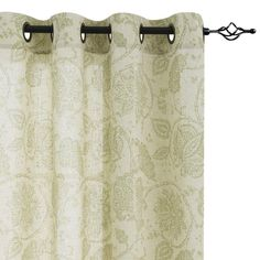 Paisley Scroll Printed Linen Curtains, Grommet Top - Medallion Design Jacobean Floral Printed Curtains Burlap Vintage Bedroom Curtain Panels (Sage, x Set of Two)