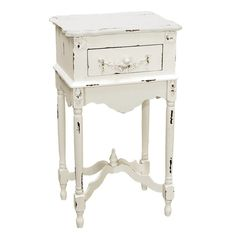 Milkpaint Side Table - perfect for right next to the bed! A drawer is a must-have too.