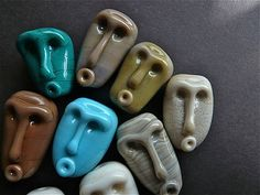Lampwork Glass Beads Tribal Masks Faces SRA by MitosisGlass