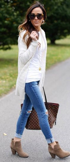 fall+casual+outfit+:+cardigan+++sweater+++bag+++rips+++boots
