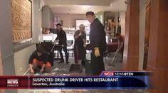 A suspected drunk driver crashes into an Australian restaurant.