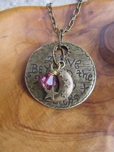 LOVE Beyond the MOON and STARS  Antique Brass by DestinyAccessory, $21.00