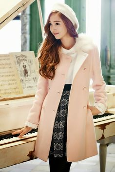 """Jessica Jung wearied Pink overcoat from """"SOUP"""" Snsd Fashion, Asian Fashion, Fashion Outfits, Seoul Fashion, Korean Clothing Brands, Girls Generation Jessica, Jessica Jung Fashion, Jessica & Krystal, Krystal Jung"""