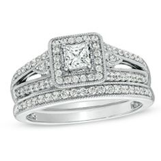 1/2 CT. T.W. Princess-Cut Diamond Vintage-Style Engagement Ring in 10K White Gold - Zales