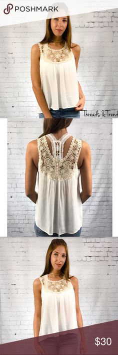 Olivia Sleeveless Blouse Feminine Olivia cream and crocheted lace sleeveless blouse. Pair with bralette's or cami's. Wear dressy or causal. Semi sheer 100% rayon.                                                                                                    Small  Bust 42 Length 24  Medium  Bust 44 Length 25  Large  Bust 46 Length 26 Threads & Trends Tops Blouses